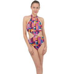 Abstract Background Geometry Blocks Halter Side Cut Swimsuit