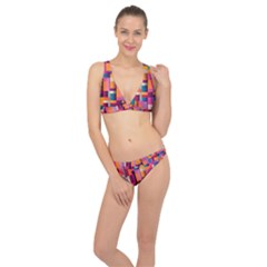 Abstract Background Geometry Blocks Classic Banded Bikini Set