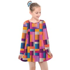 Abstract Background Geometry Blocks Kids  Long Sleeve Dress