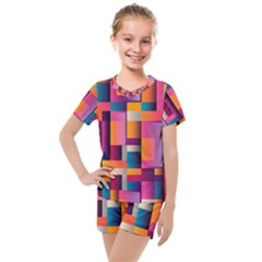 Abstract Background Geometry Blocks Kids  Mesh Tee And Shorts Set