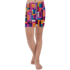 Abstract Background Geometry Blocks Kids  Lightweight Velour Capri Yoga Leggings