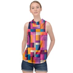 Abstract Background Geometry Blocks High Neck Satin Top by Bajindul