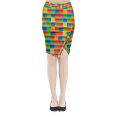 Background Colorful Abstract Midi Wrap Pencil Skirt by Bajindul