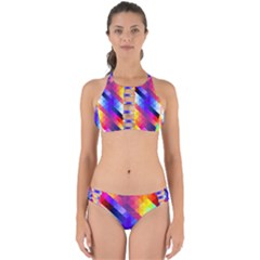 Abstract Blue Background Colorful Pattern Perfectly Cut Out Bikini Set by Bajindul