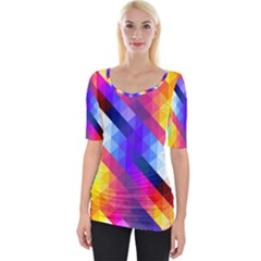 Abstract Blue Background Colorful Pattern Wide Neckline Tee