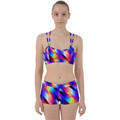 Abstract Blue Background Colorful Pattern Perfect Fit Gym Set by Bajindul