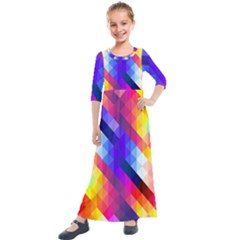 Abstract Blue Background Colorful Pattern Kids  Quarter Sleeve Maxi Dress