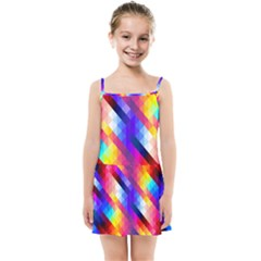 Abstract Blue Background Colorful Pattern Kids  Summer Sun Dress by Bajindul