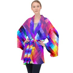 Abstract Blue Background Colorful Pattern Velvet Kimono Robe