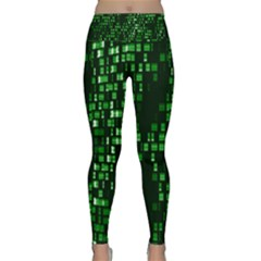 Abstract Plaid Green Lightweight Velour Classic Yoga Leggings by Bajindul