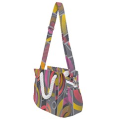 Abstract Colorful Background Grey Rope Handles Shoulder Strap Bag by Bajindul