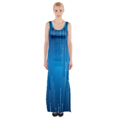 Abstract Rain Space Maxi Thigh Split Dress