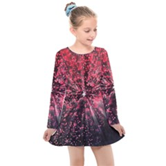 Abstract Background Wallpaper Kids  Long Sleeve Dress