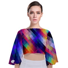 Abstract Background Colorful Pattern Tie Back Butterfly Sleeve Chiffon Top