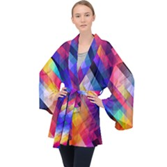 Abstract Background Colorful Pattern Velvet Kimono Robe by Bajindul