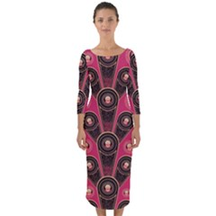 Background Abstract Pattern Quarter Sleeve Midi Bodycon Dress by Bajindul