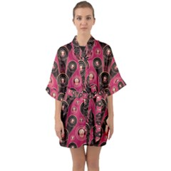 Background Abstract Pattern Quarter Sleeve Kimono Robe