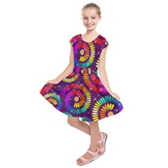 Abstract Background Spiral Colorful Kids  Short Sleeve Dress by Bajindul