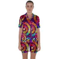 Abstract Background Spiral Colorful Satin Short Sleeve Pyjamas Set by Bajindul