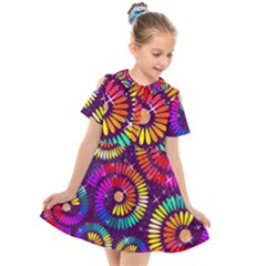 Abstract Background Spiral Colorful Kids  Short Sleeve Shirt Dress by Bajindul