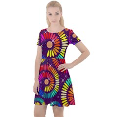 Abstract Background Spiral Colorful Cap Sleeve Velour Dress  by Bajindul