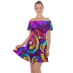 Abstract Background Spiral Colorful Off Shoulder Velour Dress by Bajindul