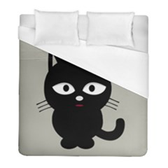 Cat Pet Cute Black Animal Duvet Cover (full/ Double Size) by Bajindul