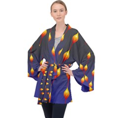 Flower Buds Floral Night Velvet Kimono Robe by Bajindul