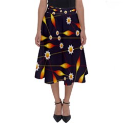 Flower Buds Floral Background Perfect Length Midi Skirt