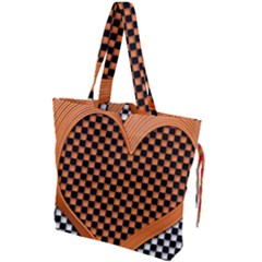 Heart Chess Board Checkerboard Drawstring Tote Bag