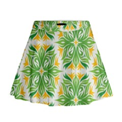 Green Pattern Retro Wallpaper Mini Flare Skirt by Bajindul
