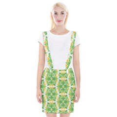 Green Pattern Retro Wallpaper Braces Suspender Skirt