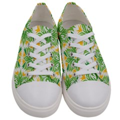 Green Pattern Retro Wallpaper Women s Low Top Canvas Sneakers
