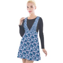 Blue Pattern Scrapbook Plunge Pinafore Velour Dress