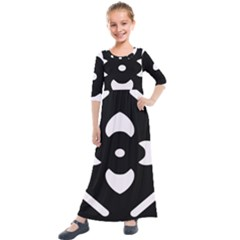 Pattern Flower Black Kids  Quarter Sleeve Maxi Dress by Bajindul