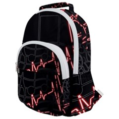 Music Wallpaper Heartbeat Melody Rounded Multi Pocket Backpack by Bajindul