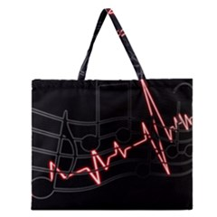 Music Wallpaper Heartbeat Melody Zipper Large Tote Bag by Bajindul