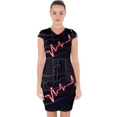 Music Wallpaper Heartbeat Melody Capsleeve Drawstring Dress  by Bajindul