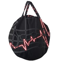 Music Wallpaper Heartbeat Melody Giant Round Zipper Tote by Bajindul