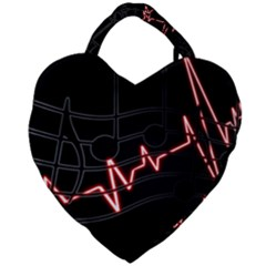 Music Wallpaper Heartbeat Melody Giant Heart Shaped Tote by Bajindul