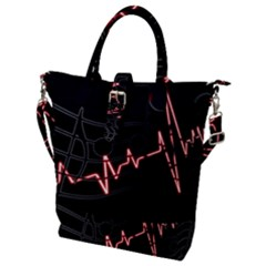 Music Wallpaper Heartbeat Melody Buckle Top Tote Bag by Bajindul