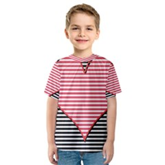 Heart Stripes Symbol Striped Kids  Sport Mesh Tee