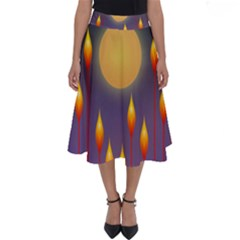 Night Moon Flora Background Perfect Length Midi Skirt by Bajindul