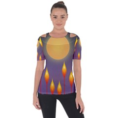 Night Moon Flora Background Shoulder Cut Out Short Sleeve Top by Bajindul