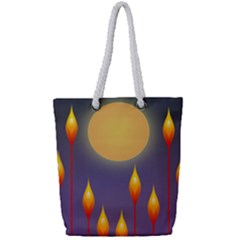 Night Moon Flora Background Full Print Rope Handle Tote (small) by Bajindul