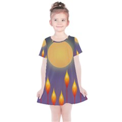 Night Moon Flora Background Kids  Simple Cotton Dress by Bajindul