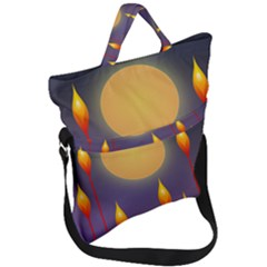 Night Moon Flora Background Fold Over Handle Tote Bag by Bajindul