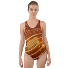 Music Notes Sound Musical Love Cut Out Back One Piece Swimsuit
