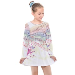 Music Notes Abstract Kids  Long Sleeve Dress by Bajindul