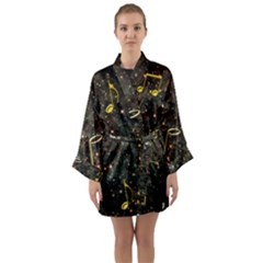 Music Clef Musical Note Background Long Sleeve Kimono Robe by Bajindul